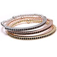 Al por mayor-Bend Bar pulsera para hombre elástico pulsera 24k chapado en oro Beads acero inoxidable Micro Pave circón elástico para hombre pulseras CZ Inlay