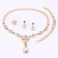 Mode bloem hanger ketting oorbellen armband vergulde sieraden sets voor vrouwen imitatie kristal bruids bruiloft bijouterie