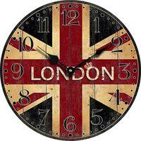 Atacado- Londres Relógio De Parede De Madeira Bandeira De Londres Quarto Grande Decorativo Clássico Relógios De Parede Do Vintage Home Decor Sala Decoração
