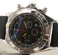 Couro Strap Vingador 45MM Quartz Chronograph Mens Watch Relógios Black Round Dial Com Três Deputados Dials E Bezel Rotativo
