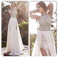 2017 Julie Vino Beach Wedding Dresses Halter Lace Pearls Chiffon High Split Backless Greek Boho Sweep Train