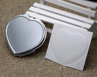 Miroir de poche coeur Miroir compact en argent avec résine Sticker Epoxy DIY Set Trail Order 5 pièces / Lot # M0838
