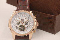 2014 جديد الموضة براون الجلود الفرقة 1884 رجل ساعة توربيون الذهب الفولاذ المقاوم للصدأ الرجل الساعات الفاخرة