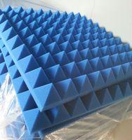Blaue Farbe Col Pyramid Akustikschaum 50x50x5cm Akustische Studio Schalldämmung Schaum Schallabsorption Schwamm Wandpaneele für Musik Zimmer