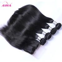5pcs Lot 8A Peruviaans recht Maagd Haar met Sluiting 4 Bundels met Sluiting Onverwerkte Menselijk Haar Weave met Closures Landot Hair Product