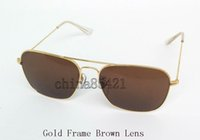 High Quality Mens Womens CARAVAN Sunglasses Metal Gold Frame...