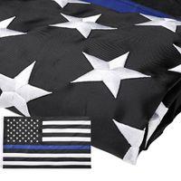 Tunn blå linje flagga - 3x5 ft broderade stjärnor sydda ränder robusta mässing grommets för amerikanska polis flaggan hedra brottsbekämpande officerare