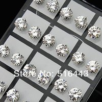 Fashion 48pcs 8mm Clear Austria Cubic Zirconia Stainless Steel Stud Earrings for Womens Mens Wholesale Jewelry Lots A-645