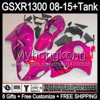 gloss rose 8gifts Para SUZUKI Hayabusa GSXR1300 08 15 GSXR-1300 14MY72 GSXR 1300 GSX R1300 08 09 10 11 12 13 14 15 Carenagem TOP rosa preto Kit