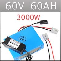 60 V 60AH lityum pil süper güç elektrikli bisiklet pil 3000 W lityum iyon pil paketi + şarj + BMS, Ücretsiz gümrük vergisi