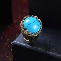 2017 nieuwe retro dame turquoise ring gouden ring vrouwen mode party ringen sieraden bohemie sieraden gratis verzending