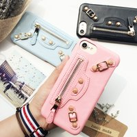 Luxury zipper rivet Motorcycle bag phone case For iPhone 7 7...