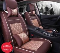 Auto Autositzbezug Komplettsets Universal Fit 5-Sitzer SUV Limousinen Vorder- / Rücksitzmatten Autoinnenausstattung Kunstleder + Eisseide