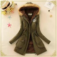 도매 - 여성 재킷 겨울 2016 새로운 스카프 칼라 자켓 여성 캡으로 뚜껑이있는 코트 솔리드 Doudoune Femme 지퍼 슬림 여성 기본 코트