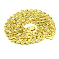 "Mens New Yellow Gold And Silver Finish Crystal 30"" Big ..."