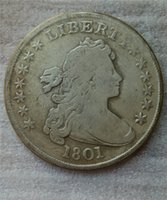 미국 Draped Bust Dollar 1801 동전 복사 고풍스럽고 오래 된 동전 동전 황동 공예 동전 전체 판매 무료 배송