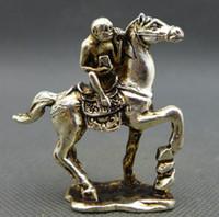 Chine Ancienne Petite Collection Miao Argent Singe Estatuas Cheval