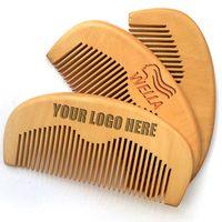 MOQ 50 PC heiße Verkaufs Holz Kamm Gewohnheit Ihr LOGO Beard Kamm Customized Combs Laser gravierte Holz Haare kämmen für Männer Grooming