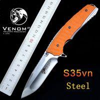 Alta calidad! Plegable táctico cuchillo 59HRC S35VN Hoja G10 mango rápido abierto exterior herramienta de supervivencia que acampa cuchillo cuchillos EDC herramienta