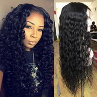 Precio al por mayor Color natural de la onda rizada profunda para la mujer negra. Pelucas llenas de encaje del pelo brasileño.