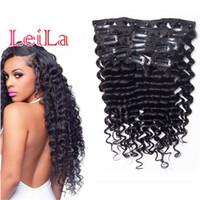 Brasilianische Jungfrau Haar Clip in Haarverlängerungen tiefe Welle lockig 70-120g vollen Kopf 7 Stück ein Satz