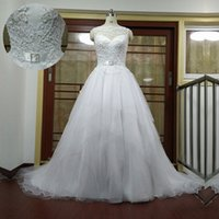 Actual Photo Wedding Dresses Bateau Neck Sleeveless Pearls L...