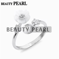 5 Pieces Flower Ring Settings White Shell 925 Sterling Silve...