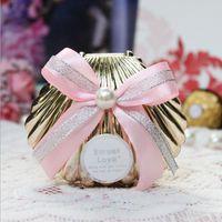 Красивые свадебные коробки конфет выступает красочные раковины раковины с лентой пляжная тема конфеты пользу коробка партия вернуться подарки ZA3239
