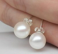 New Jewelry 6mm 8mm 10mm Pearl Earrings Stud 925 Sterling si...