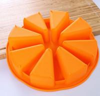 50 قطعة / الوحدة ، 1 قطعة / 8 أجزاء جولة سيليكون المثلثات البطيخ سيليكون قالب الكعكة عموم