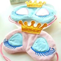 도매 사랑스러운 핑크 / 블루 크라운 슬리핑 마스크 눈가리개 아이 커버 여행 만화 긴 속눈썹 여자 눈 가리개 선물 여자 레거시