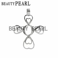 5 Pieces Cross Pendant Pearl Mounting Locket Love Wish Pearl...
