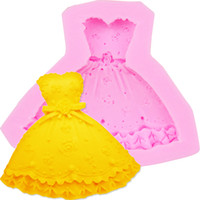 Ferramentas Hot 3D Skirt Dress forma de bolo molde de silicone Fondant bolo que decora Ferramenta de cozimento