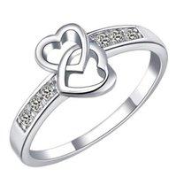 Sterling prata anéis corações corações dedos dedos anéis zircão duplo coração charme cz cristal lindo amor jóias presente de natal