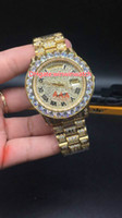 Full diamonds case gold luxury watches for men big stones be...