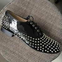 New mens round toe sliver spikes lace up oxfords, designer br...