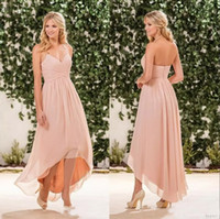 2017 barato praia pêssego rosa vestidos de dama de honra chiffon halter alta baixo party dress plus size maid of honor vestidos