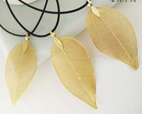 2017 новая мода реальные листья позолоченные золотые листья кулон ожерелье воск веревка цепи один и только Золотой лист ключицы ожерелья