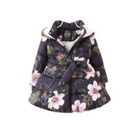 thick baby girls parkas jacket coat floral pirnt Winter warm parkas coat for 2-8yrs girls children kids hooded outerwear clothes