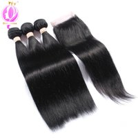 3Bundles Brazilian Virgin Hair With Closure Unprocessed Braz...