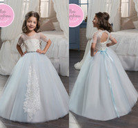 2017 Light Sky Blue Tulle Flower Girl Dresses Embroidery Lac...