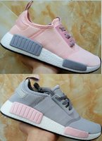 Real picture women and mens pink grey NMD R1 W ULTRA BOOST U...