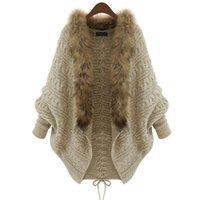 All'ingrosso-Donne Cardigan Maglione di lana Spesso Poncho Capes Femme Autunno Inverno Manica a pipistrello Collo di pelliccia lavorato a maglia Cardigan lungo trench 50