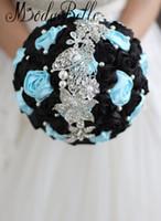 Modabelle 하늘색과 검은 색 크리스탈 웨딩 부케 결혼식 꽃 신부 부케 결혼식 장식 꽃다발을 주식에서