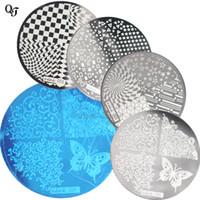 Nuevo 1 unids Flower Designs DIY Nail Art Stamping Plate Set Plantilla del arte del clavo de acero inoxidable Nail Polish Stamp plantilla hehe001-4