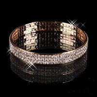 Luxury Gold Plated Bridal Bracelet Bling Bling 3 Row Rhinest...
