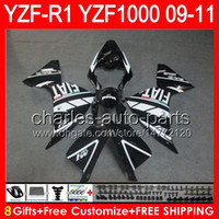 noir brillant 8gifts Corps Pour YAMAHA YZFR1 09 10 11 YZF-R1 09-11 95NO32 YZF 1000 YZF R 1 YZF1000 YZF R1 2009 2010 2011 TOP Noir brillant Carénage