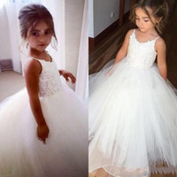 Spaghetti Applique Lace Little Girl Dress Ball Gown Cute Flower Girls 'Beautiful Kids Formal Wear