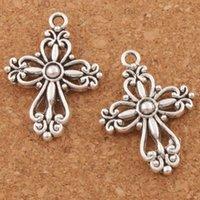 Filigree Liga Cruz 20.5x27.9mm Handmade charme contas 100 pçs / lote de prata religiosa antiga flor espaçador jóias diy l425 pingentes hueik