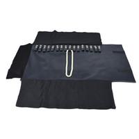 新しいファッションの折りたたみ式ジュエリー収納ケースブルーレザーレットブレスレットホルダーネックレスオラガナイザー旅行ロールバッグ29 * 14cm